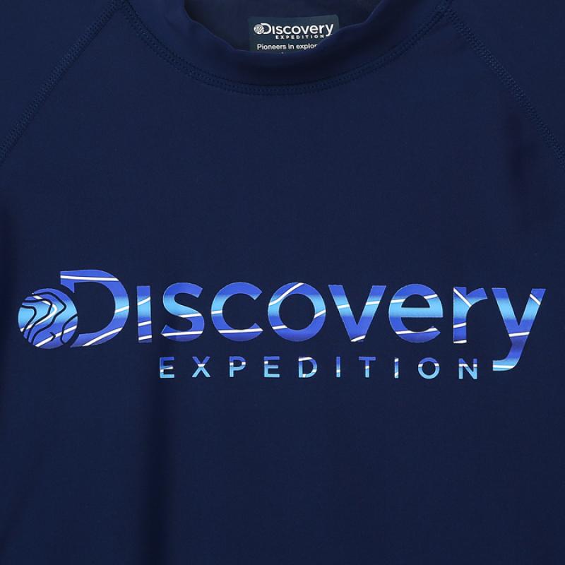 디스커버리 익스페디션(DISCOVERY EXPEDITION) 남성 베이직 로고형 래쉬가드-DARK NAVY COLOR