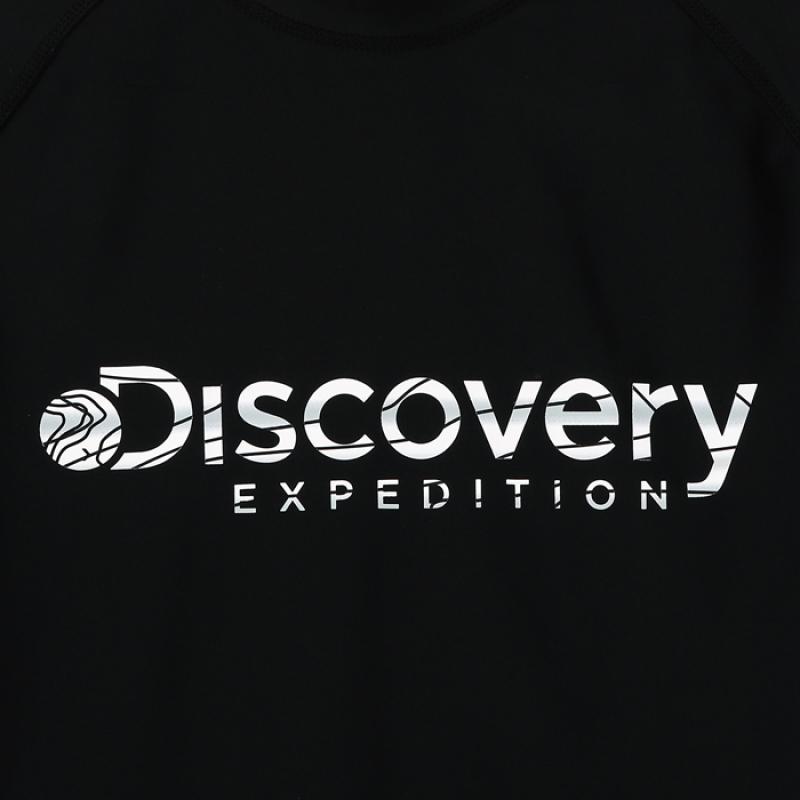 디스커버리 익스페디션(DISCOVERY EXPEDITION) 여성 베이직 로고형 래쉬가드-BLACK COLOR