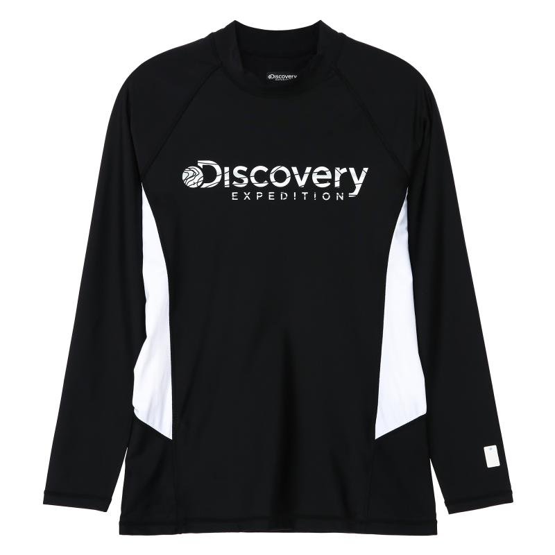 디스커버리 익스페디션(DISCOVERY EXPEDITION) 남성 베이직 로고형 래쉬가드-BLACK COLOR