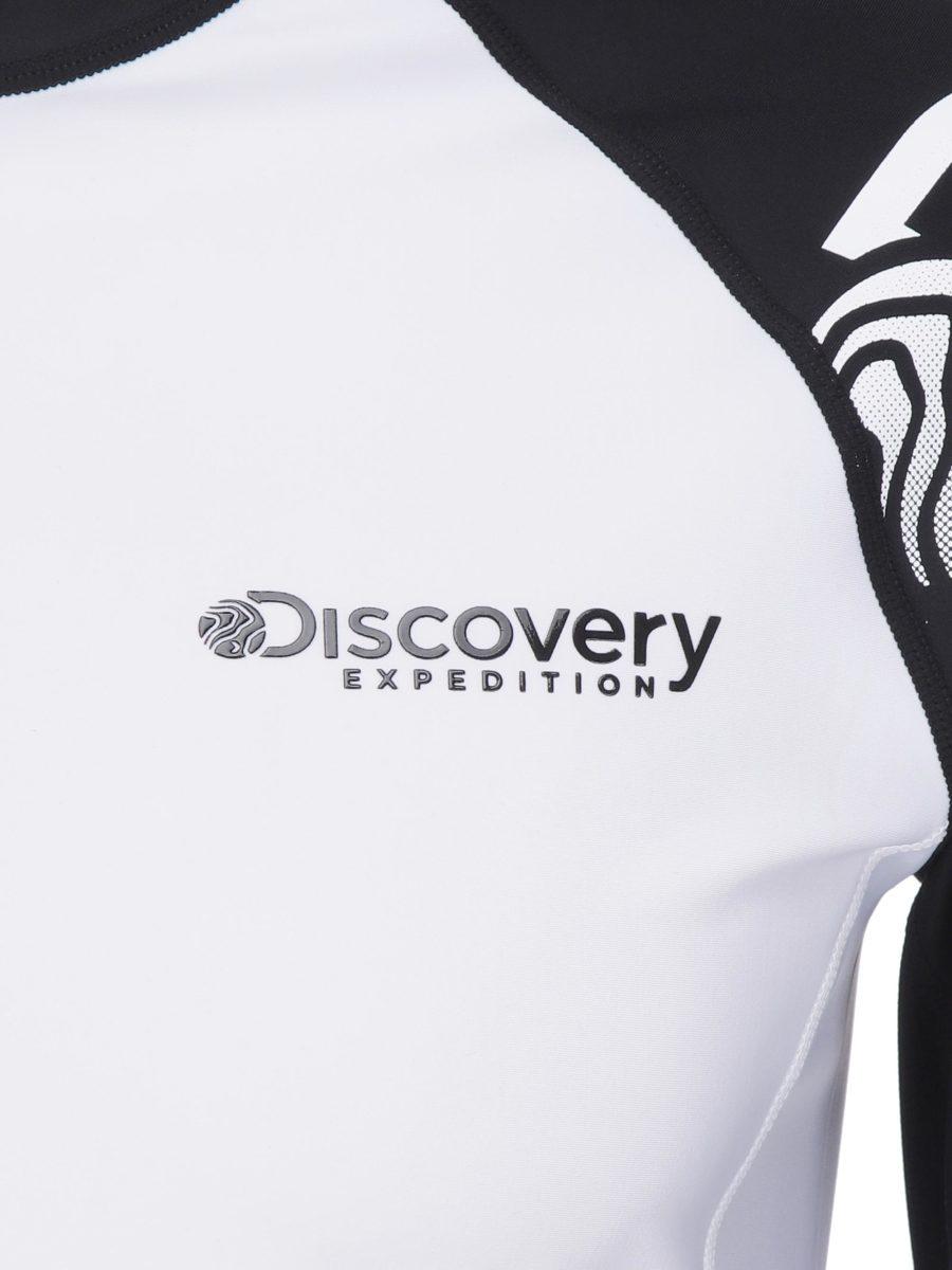 디스커버리 익스페디션(DISCOVERY EXPEDITION) 배색 남성 로고 래쉬가드(O/WHITE)