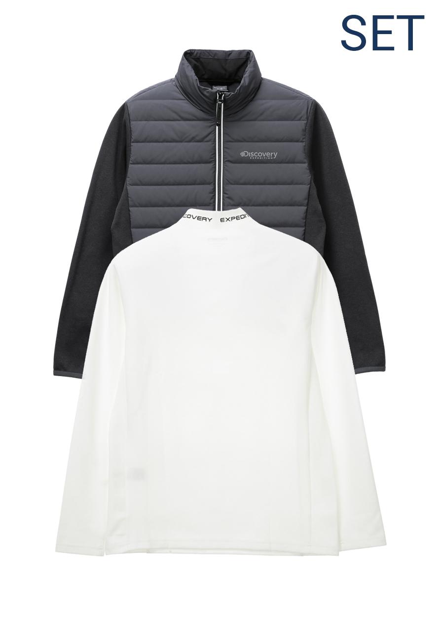 루턴리 튜브다운자켓+기모 베이스 레이어 티셔츠