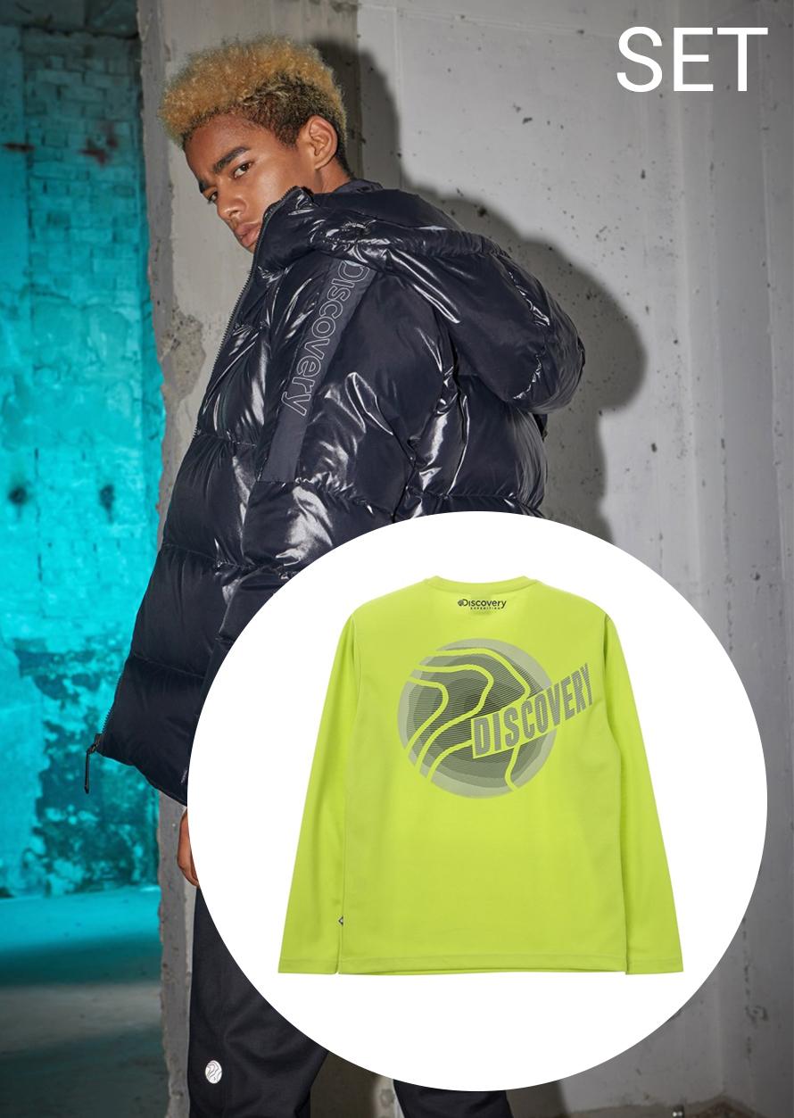 시그닉(CYGNIC) 다운자켓+그래픽 포인트 라운드 티셔츠