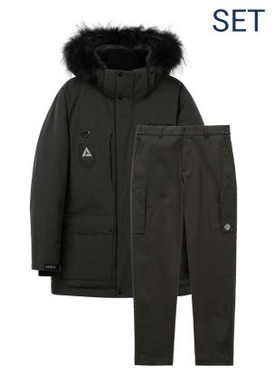 [남성]마운틴쿡 다운자켓+겨울 세미루즈핏 메쉬본딩 카고 팬츠