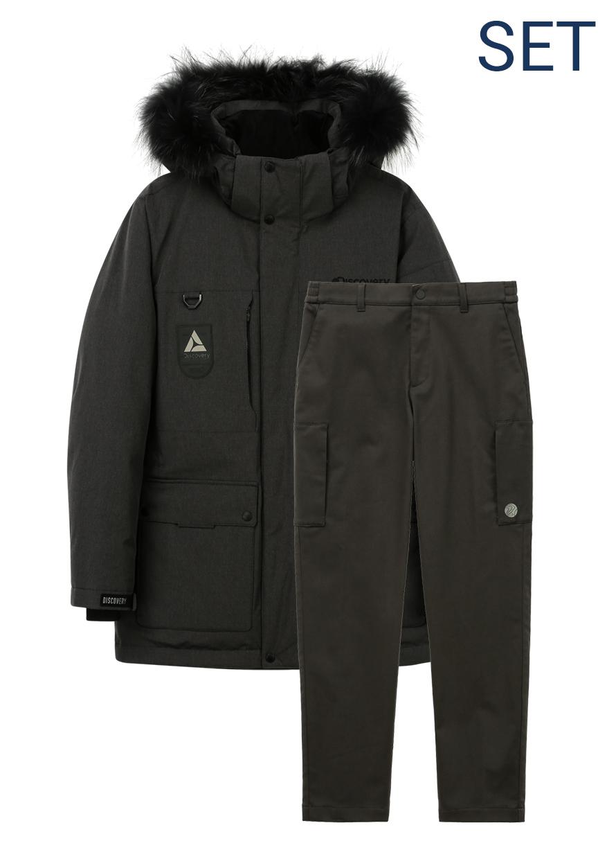 마운틴쿡 다운자켓+겨울 세미루즈핏 메쉬본딩 카고 팬츠