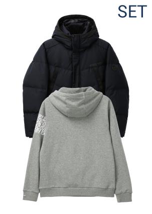 [남성]코카번(KOCHABURN) 다운자켓+로고 포인트 후디