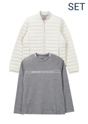 [여성]픽시버 튜브다운자켓+로고플레이 베이직 라운드 티셔츠