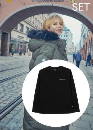 [여성]고쉬(GOSH) 다운자켓+그래픽 포인트 라운드 티셔츠