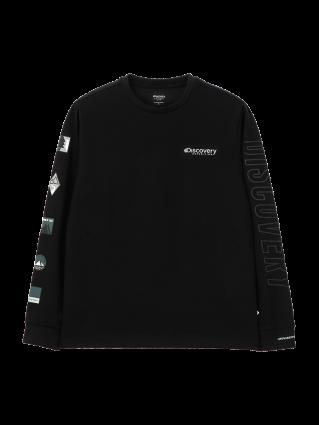 [공용]소매 그래픽 포인트 라운드 티셔츠