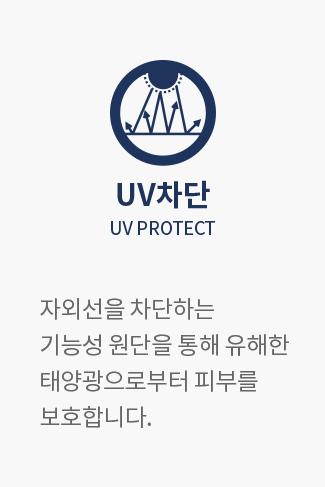 UV차단 UV PROTECT : 자외선을 차단하는 기능성 원단을 통해 유해한 태양광으로부터 피부를 보호합니다.